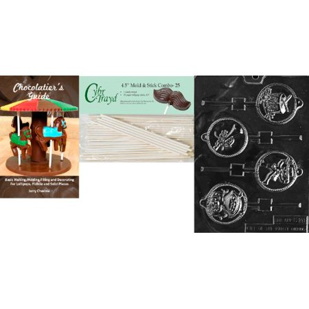 Cybrtrayd '12 Days of X-Mas Pop 9-12' Christmas Chocolate Candy Mold with 25 4.5-Inch Lollipop Sticks and Chocolatier's Guide ()