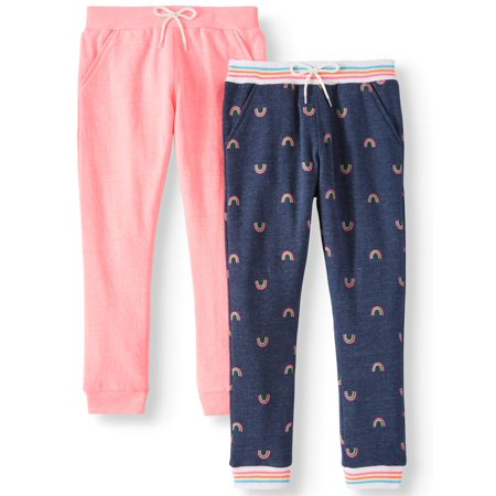 Solid and Printed Jogger Pants, 2-Pack (Little Girls & Big Girls)