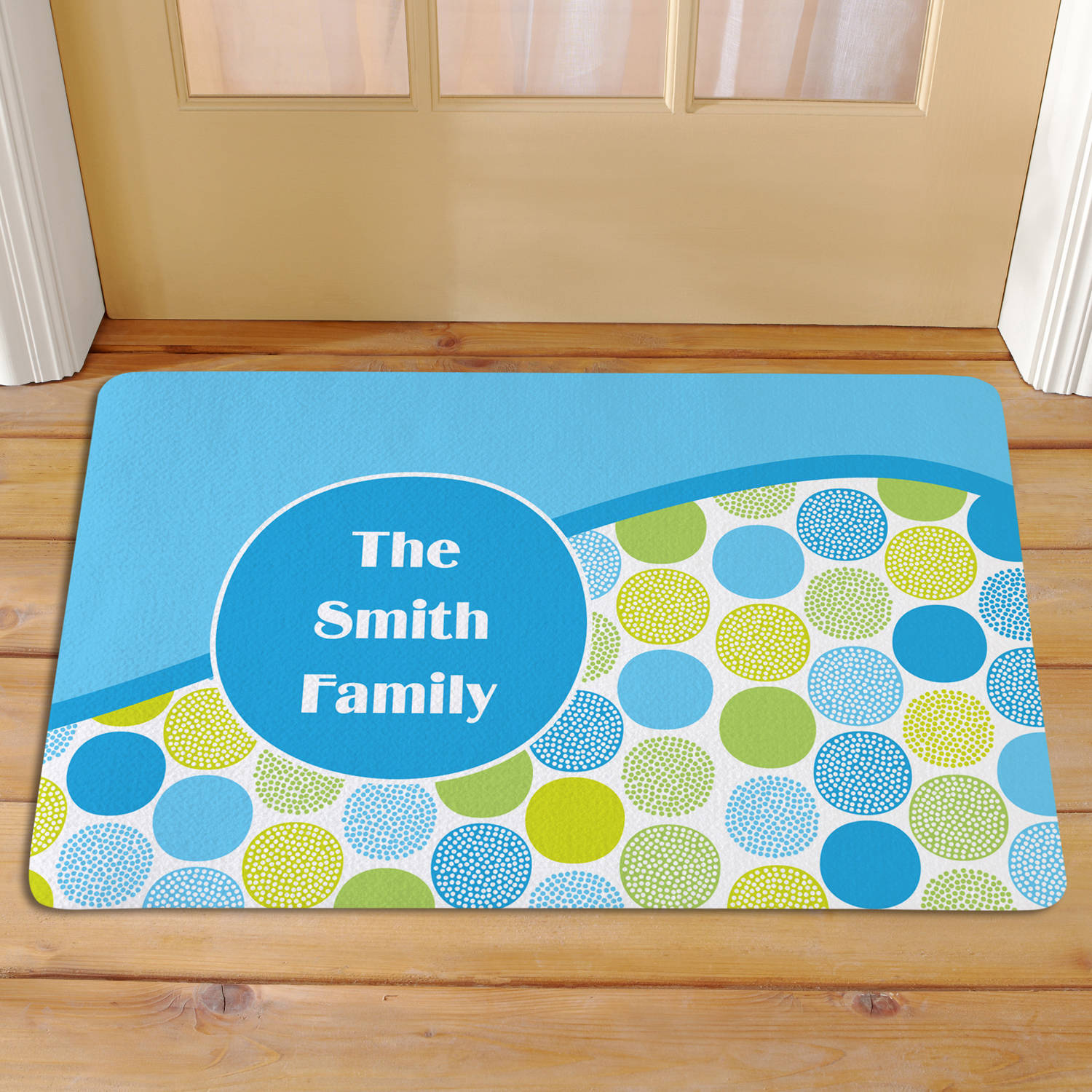 Personalized Ocean Waves Polka Dot Doormat