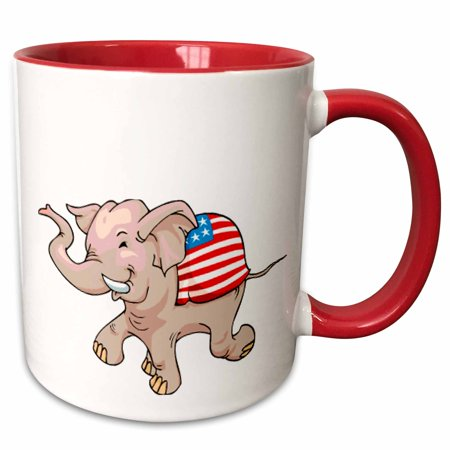 3dRose Republican Party Elephant Mascot - Two Tone Red Mug, 11-ounce