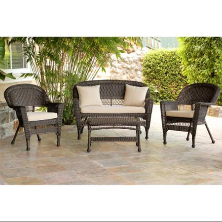 4-Piece Espresso Wicker Patio Chairs, Loveseat & Table Furniture Set - Tan Cushions ()