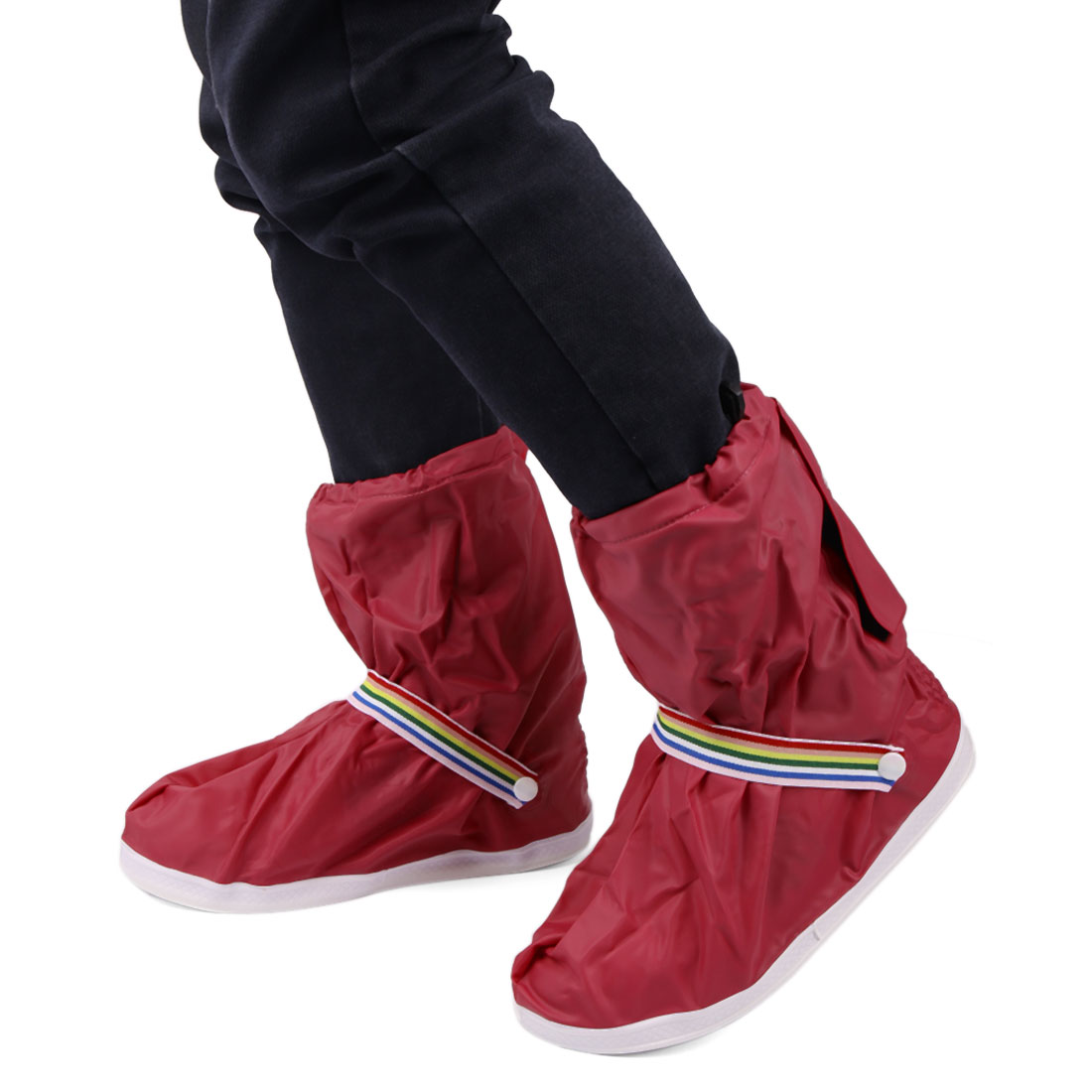 1Pair Wine Red Motorcycle Nonslip Waterproof Adjustable Rain Shoes Boot Cover XL - image 4 de 5