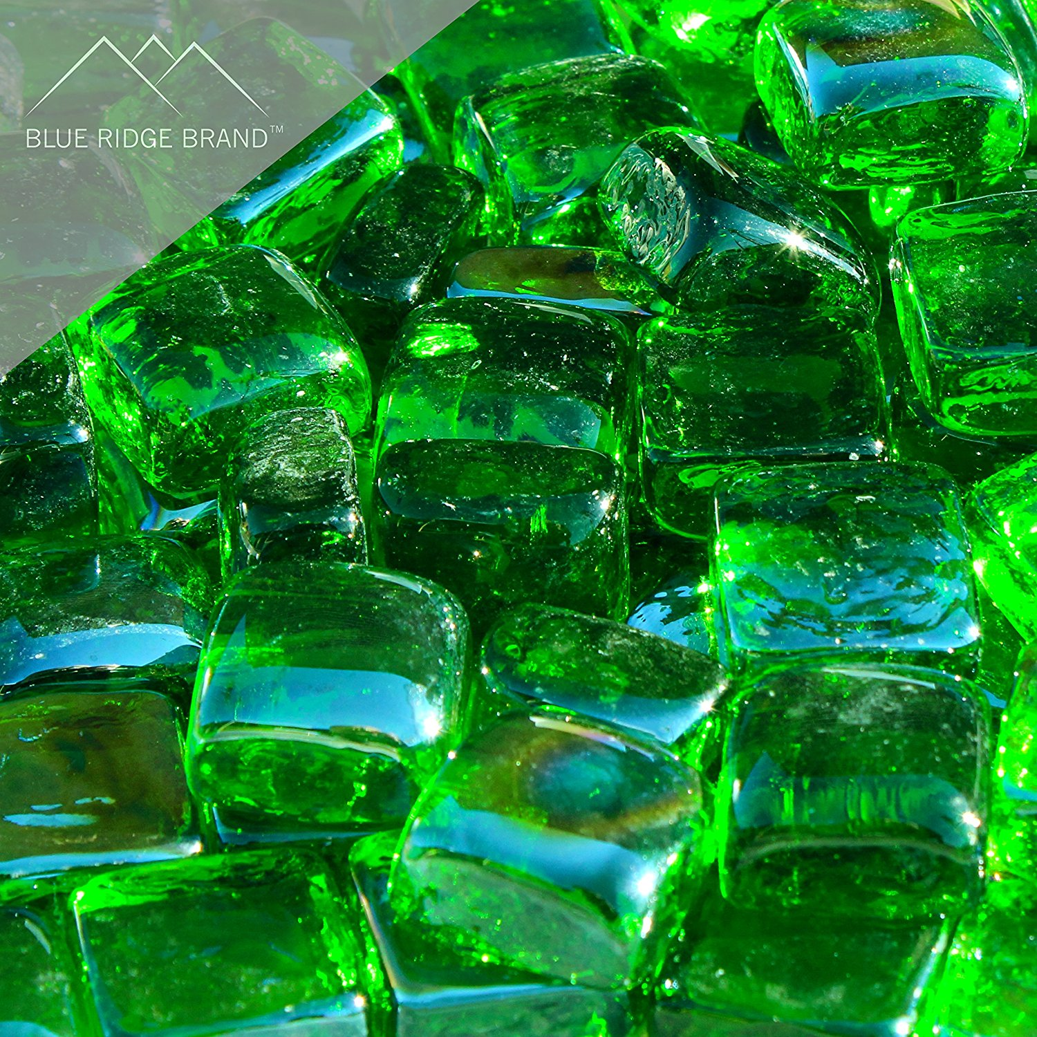 "Blue Ridge Brand™ Reflective Fire Glass Cubes - Professional Grade Fire Pit Glass - 1"" Reflective Fire Pit Glass Squares"