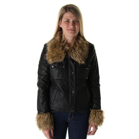 Members Only Womens Quilted Faux Fur Trim Jacket - Only Outerwear
