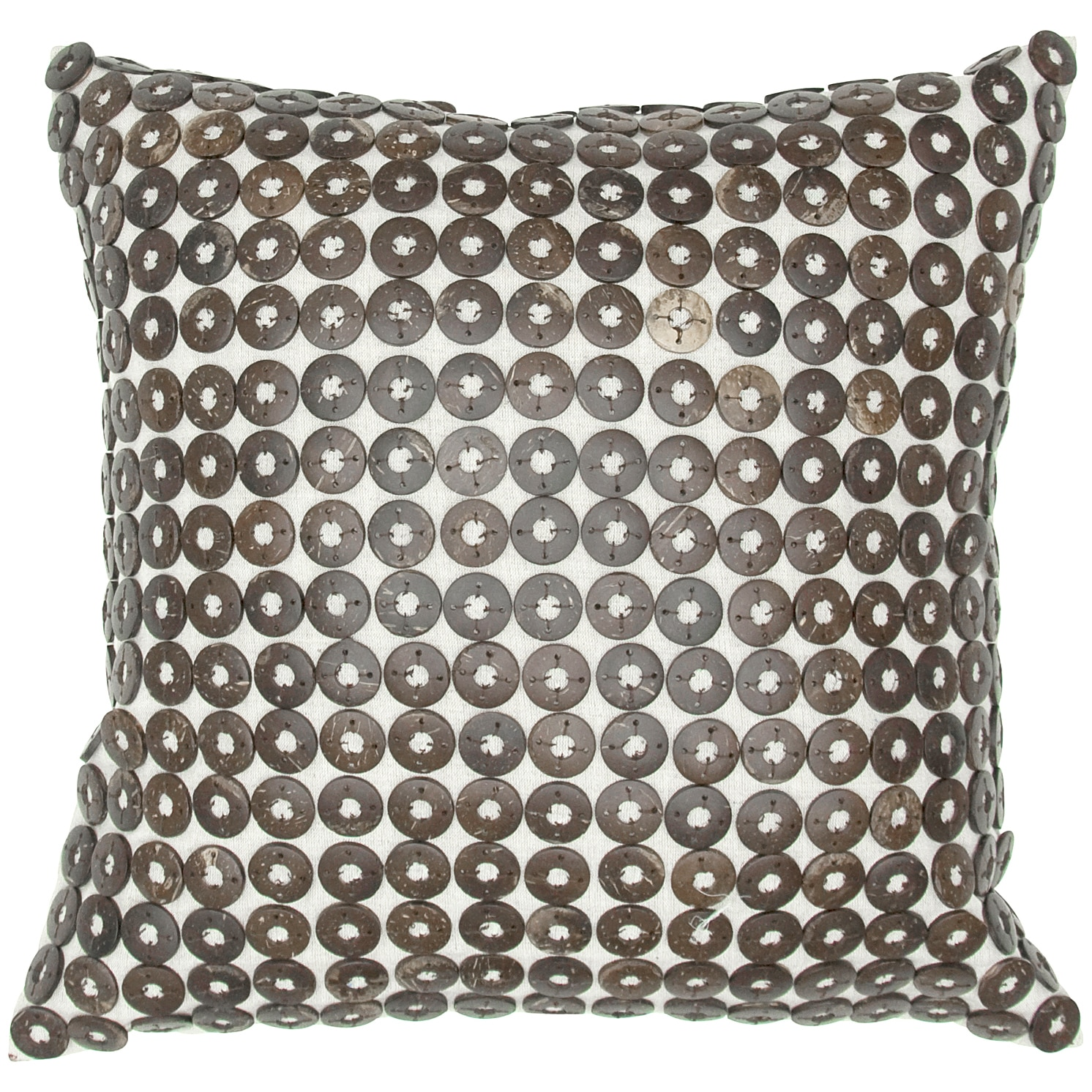 Room with a View Coconut Shell Button Feather-filled Throw Pillow