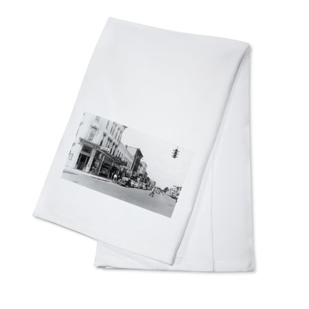 Greenville, Michigan - View of a City Street Corner (100% Cotton Kitchen Towel) - Party City Greenville Sc