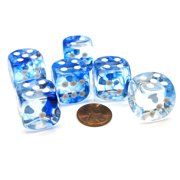 Chessex Nebula 20mm Big D6 Dice, 6 Pieces - Dark Blue with White Pips #DN2016