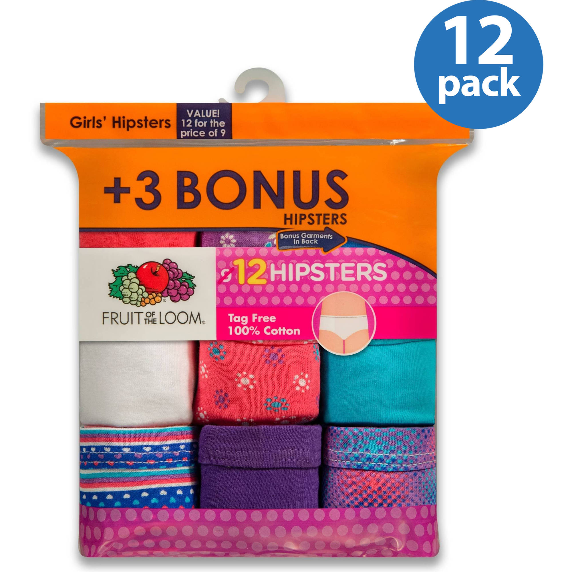 Fruit of the Loom Girls' 100% Cotton Hipster Panties, 9+3 Bonus Pack