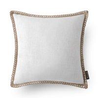 "Phantoscope Linen Trimmed Farmhouse Series Decorative Throw Pillow, 18"" x 18"", Off White, 1 Pack"