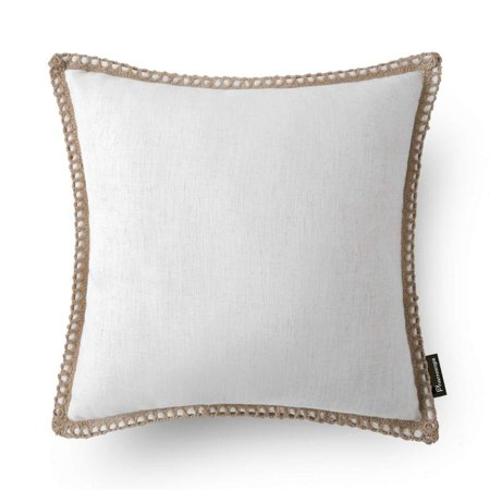 "Beige Pillow - Phantoscope Linen Trimmed Farmhouse Series Decorative Throw Pillow, 18"" x 18"", Off-White, 1 Pack"