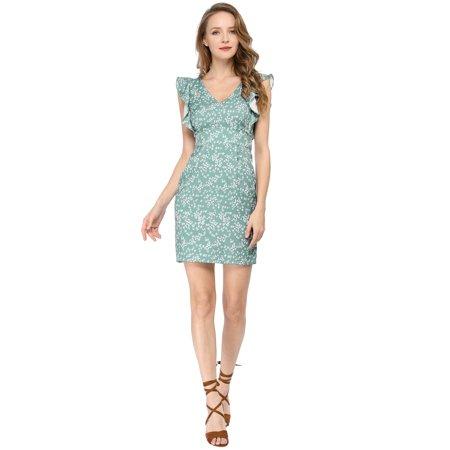 Women's Floral V-Neck Slim Bodycon Pencil Sheath Dress Green XS (US 2) - image 4 de 6