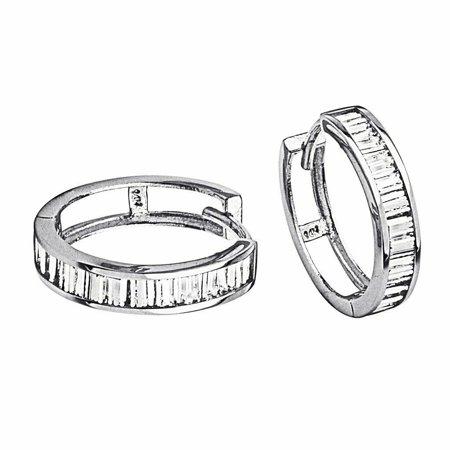 14k White Gold 4mm Thickness CZ Channel Set Hoop Huggie Earrings ( 15 mm X 15