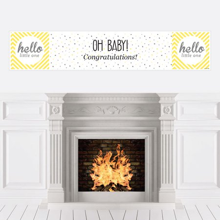Hello Little One - Yellow and Gray - Neutral Baby Shower Decorations Party Banner - Gender Neutral Baby Shower Decorations