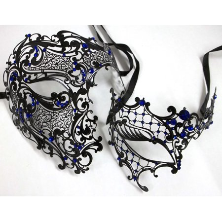 Black Blue Phantom Men Woman Venetian Mask Masquerade Metal Couple Masks Set