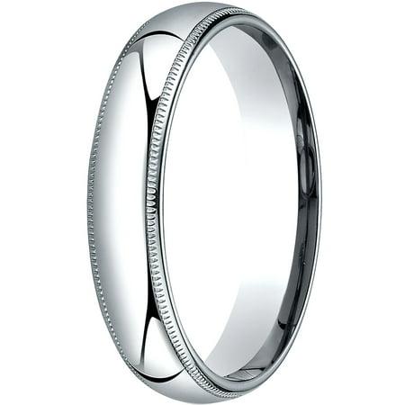 - Womens Platinum, 5mm Slim Profile Comfort-Fit Wedding Band with Milgrain
