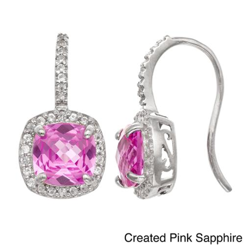 Gioelli Sterling Silver Gemstone and Created Sapphire Accent Earrings CREATED PINK SAPPHIRE