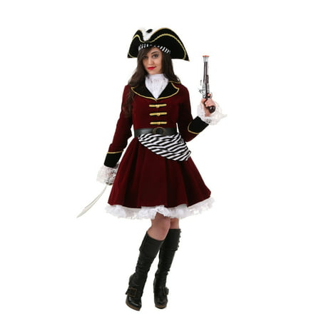 Plus Size Women's Captain Hook Costume with Hat - Captain Hook Costumes