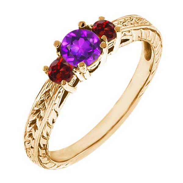 0.60 Ct Round Purple Amethyst Red Garnet 18K Yellow Gold 3-Stone Ring