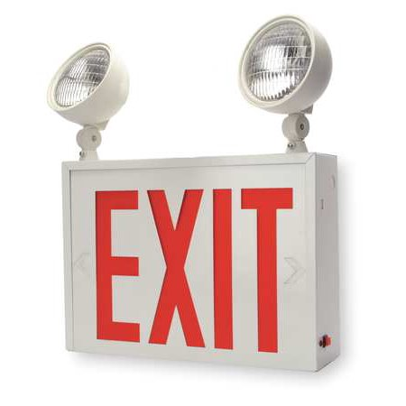 - ACUITY LITHONIA Exit Sign w/Emergency Lights,12.7W,Red LHXNY W 1 R