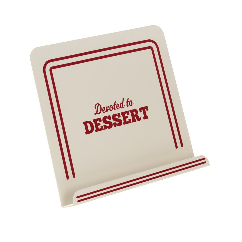 "Cake Boss Countertop Accessories Metal Cookbook Stand, ""Devoted To Dessert,"" Cream - 59372"