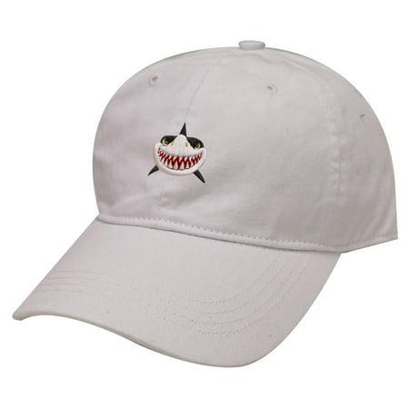 City Hunter C104 Shark Face Cotton Baseball Dad Caps 19 Colors (White)