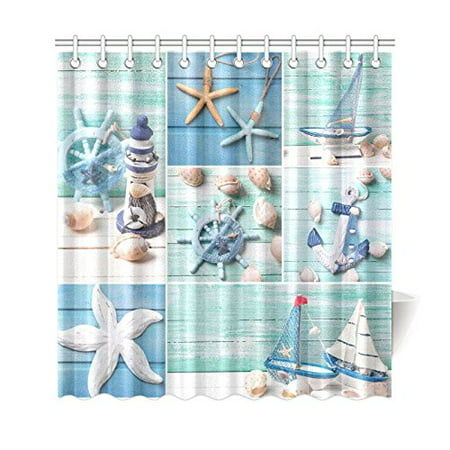Bpbop Sea Theme Sandy Beach Shower Curtain Wooden Starfish Seashells Polyester Fabric Bathroom Sets 66x72 Inches