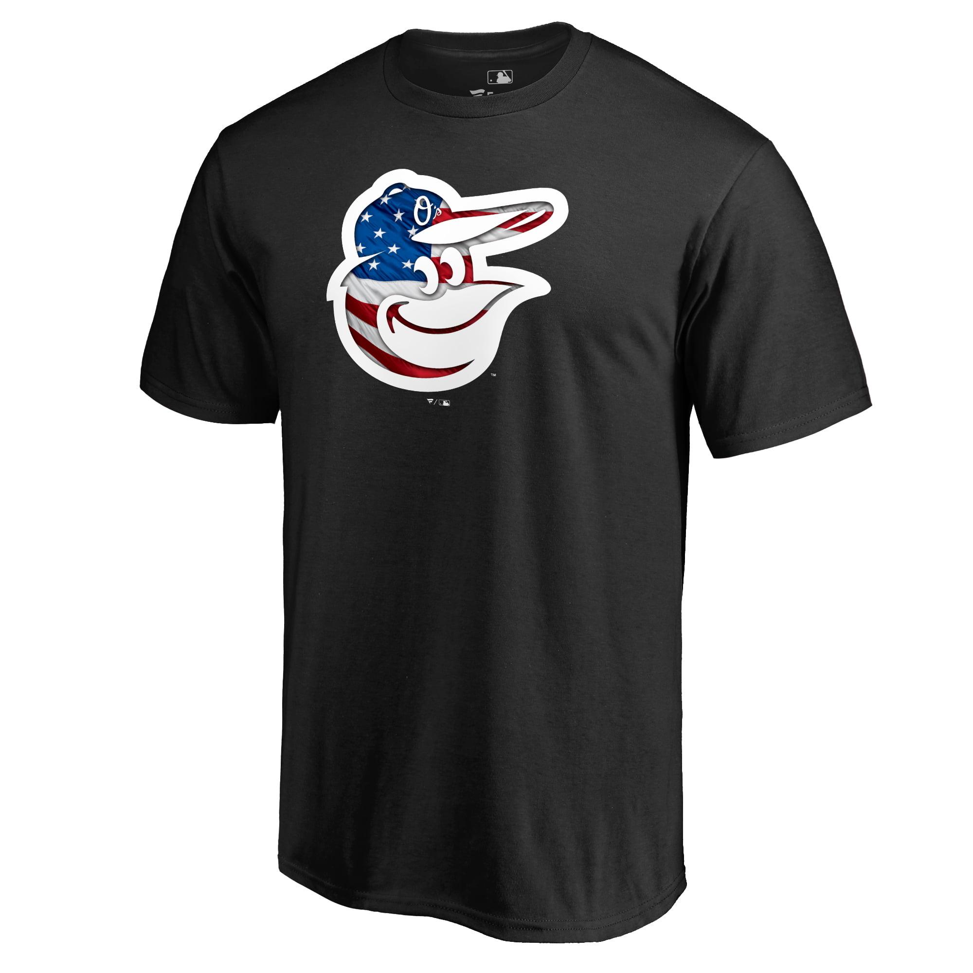 Baltimore Orioles Fanatics Branded 2018 Stars & Stripes Big & Tall Primary Logo Banner Wave T-Shirt - Black