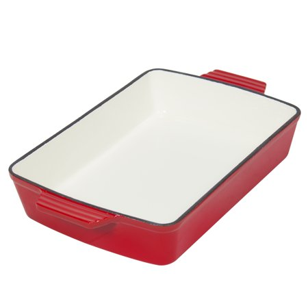 Best Choice Products Cast Iron Roasting Tray Pan Oven To Table Dish  Red