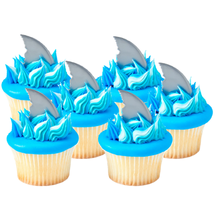 12pack Shark Finns Cake / Cupake Decoration Toppers - Shark Decorating Ideas