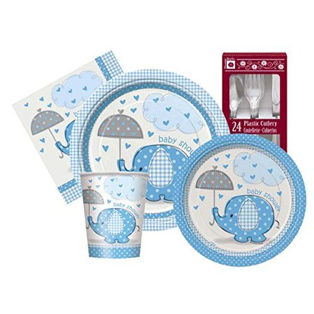 Blue Umbrellaphants Baby Boy Themed Shower Party Supply Kit Serves 8 - Football Themed Baby Shower