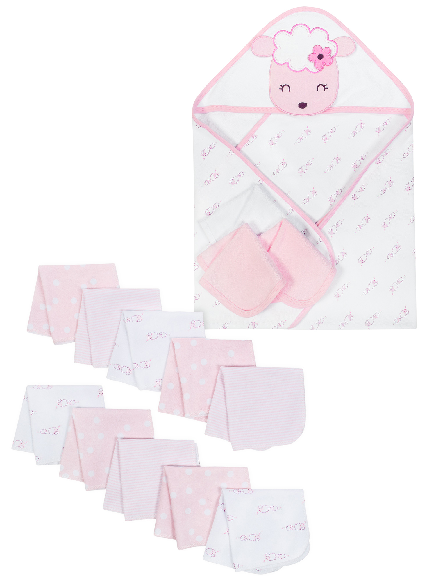 Hooded Towels & Washcloths Bath Set, 14-piece (Baby Girls)