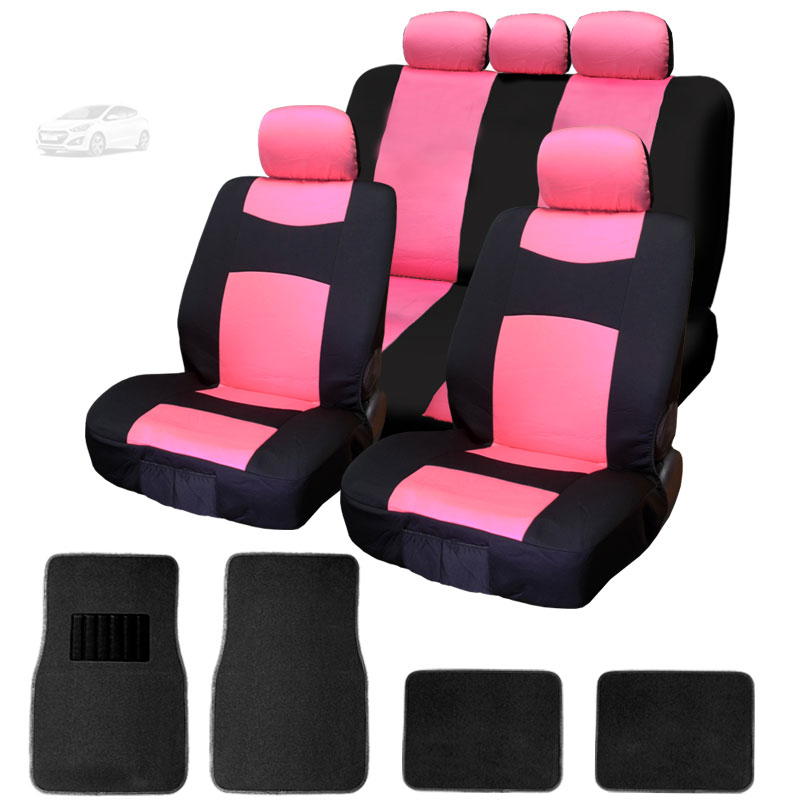NEW 12 Pieces Flat Cloth Sleek Design Black and Pink Front and Rear Car Seat Covers Set with 4 Black Color Carpet Floor Mats Complete Set - Shipping Included
