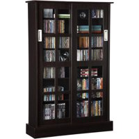 "Atlantic 49"" Windowpane Media Storage Shelf Cabinet with Sliding Glass Doors (576 CDs, 192 DVDs, 215 BluRays), Espresso"