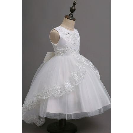 Kids Girls Lace Ball Gown Princess Dress - Lace Childrens Dress