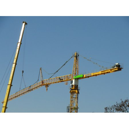 LAMINATED POSTER Tower Assembly Site Liebherr Construction Crane Poster  Print 24 x 36