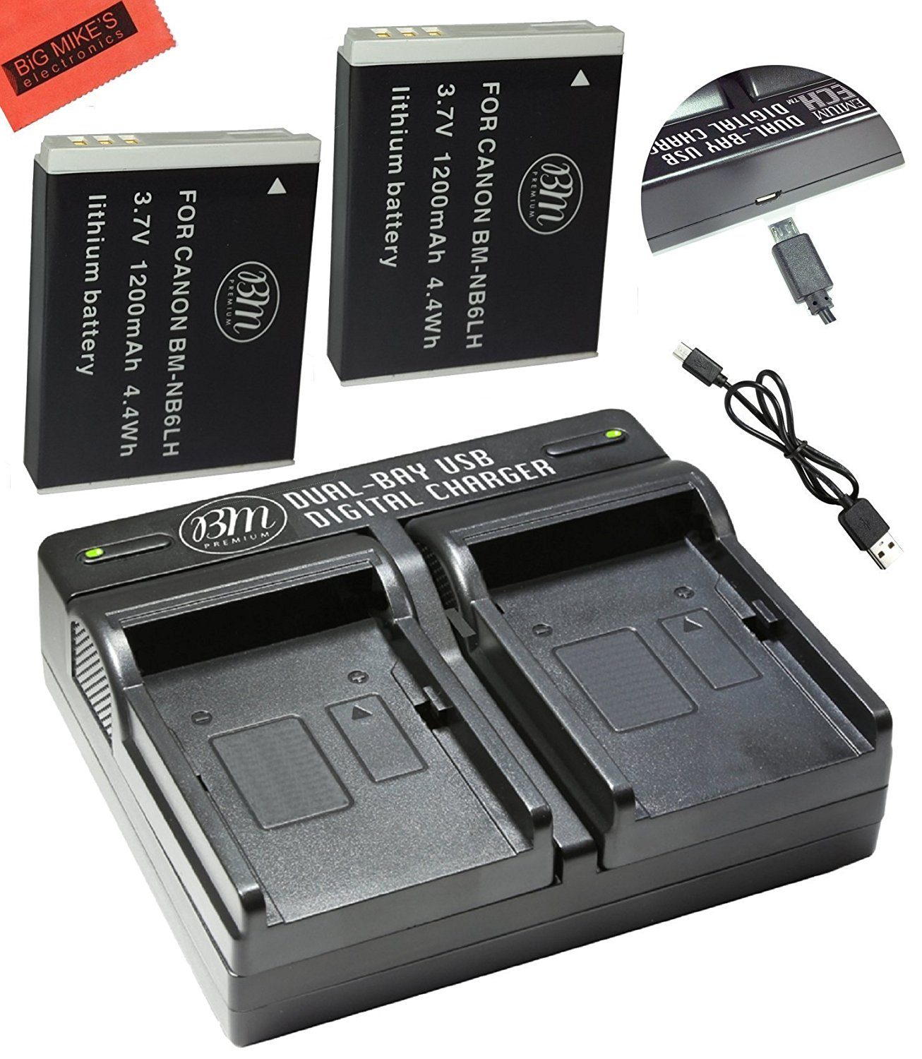 BM Premium 2 Pack of NB6L NB6LH Batteries and Dual Battery