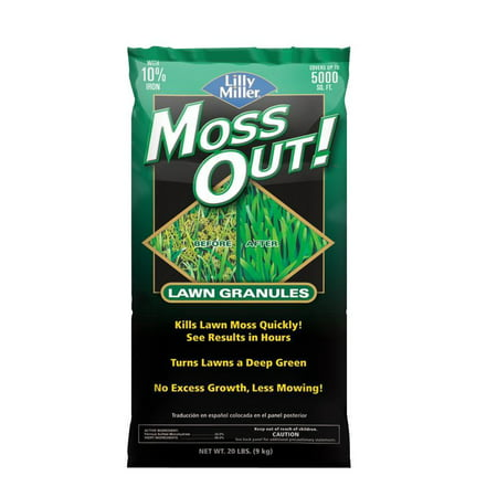 Lilly Miller Moss Out! for Lawns, With 10% Iron, 20lb Bag Covers 5,000 sq. ft.