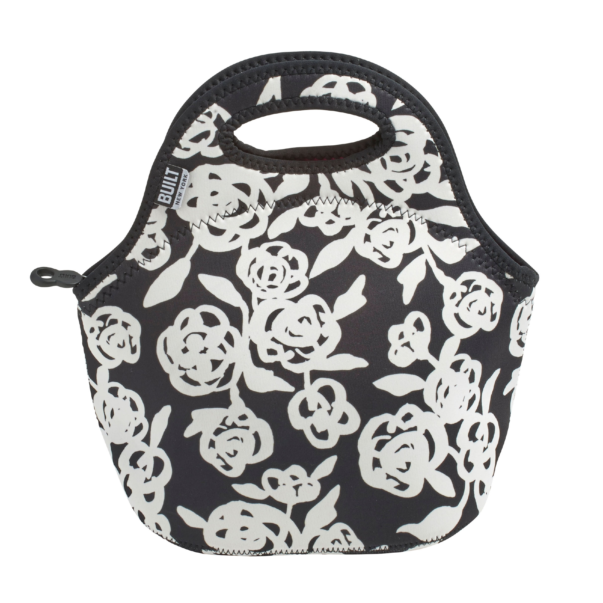 Built Gourmet Getaway Neoprene Lunch Tote Garden Rose Black & White