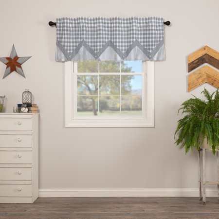 Denim Blue Farmhouse Kitchen Curtains Miller Farm Rod Pocket Cotton Hanging Loops Pointed Buttons Chambray 20x60