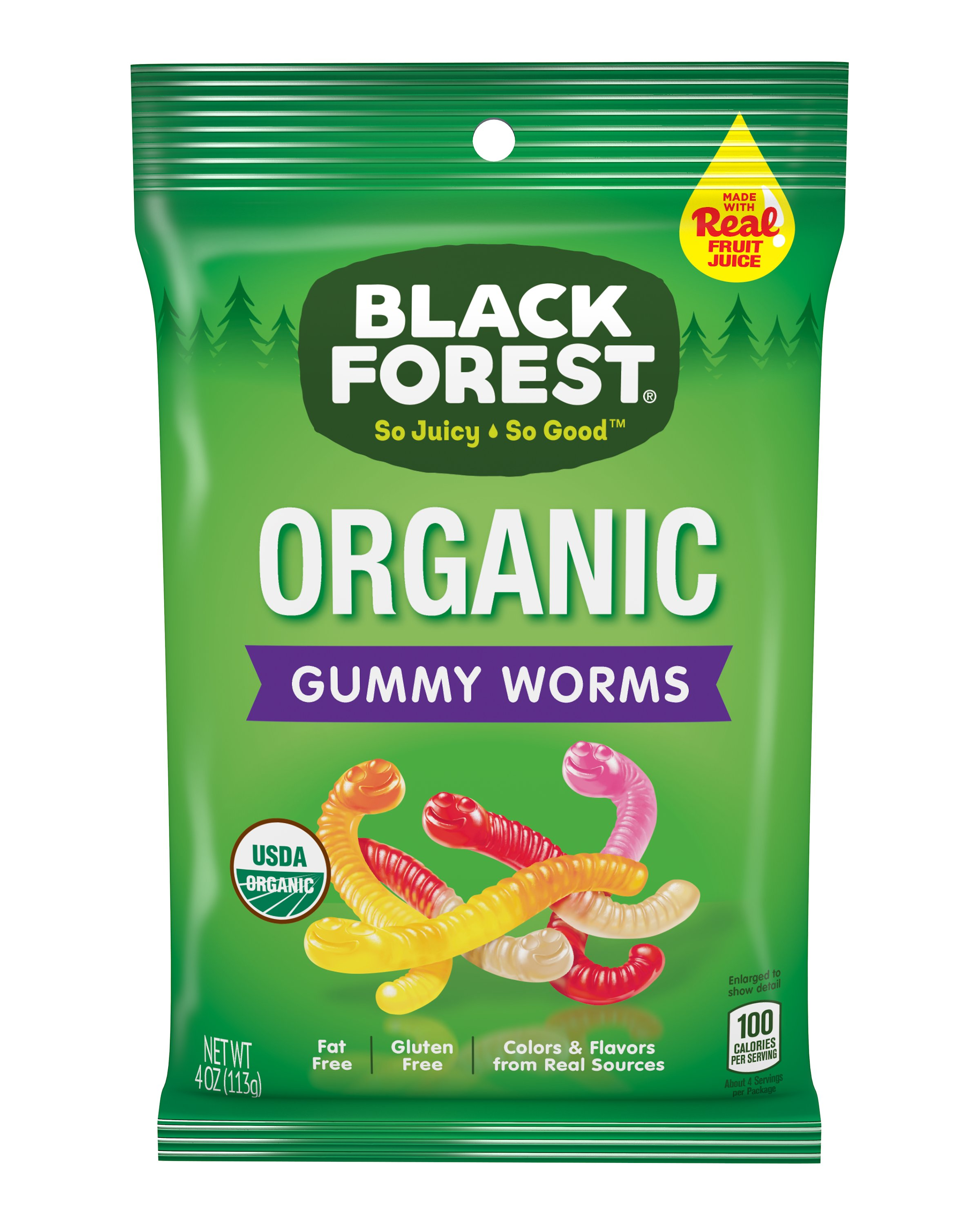Black Forest Organic Gummies Worm Candies, 4 Oz.