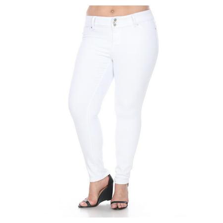 Women's Plus Size Super Stretch White Denim Jeans (White Womens Jeans)