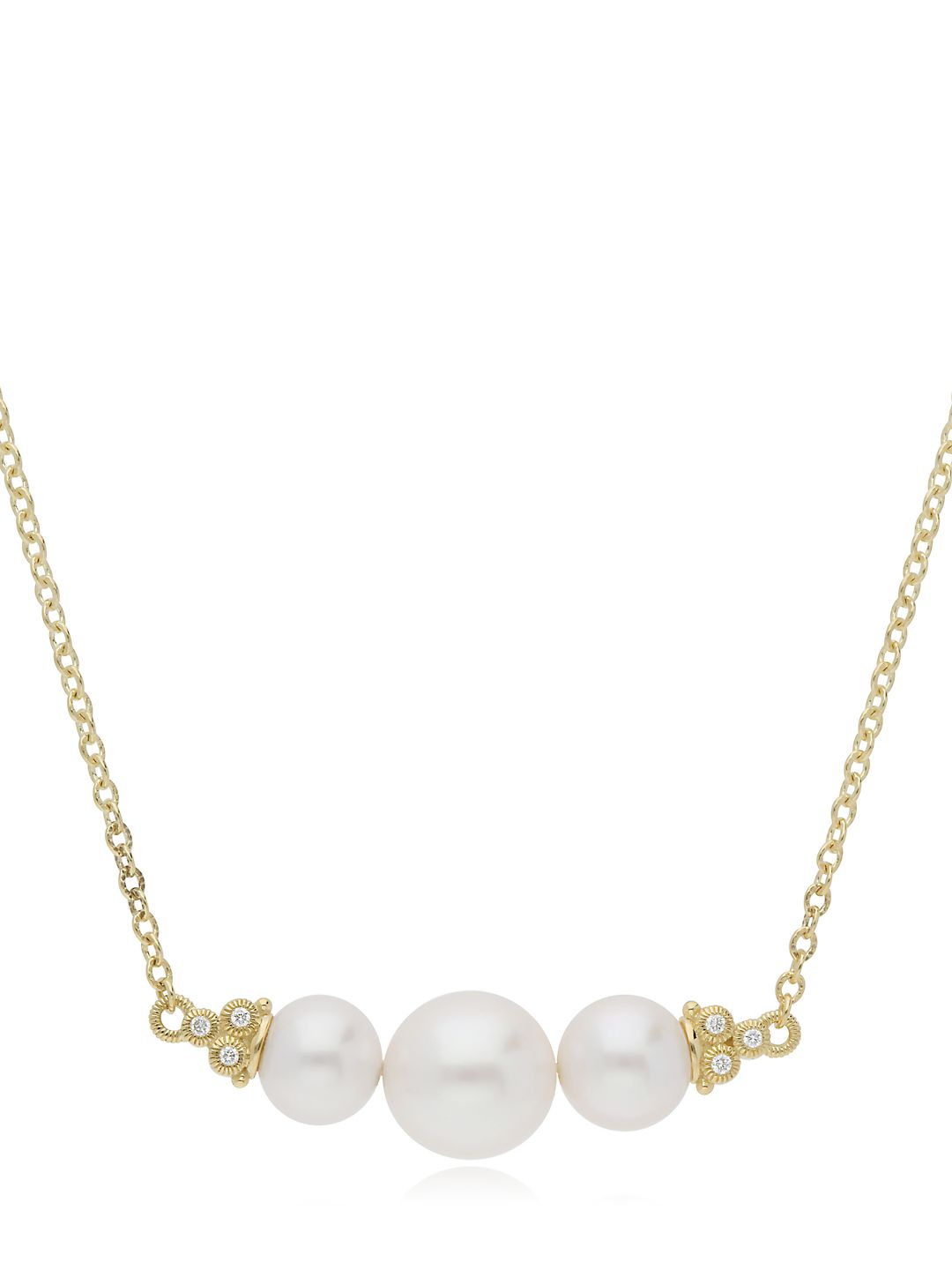 Bella Triple 7-9.5MM Chinese Freshwater Pearl, Diamond and 14K Yellow Gold Necklace