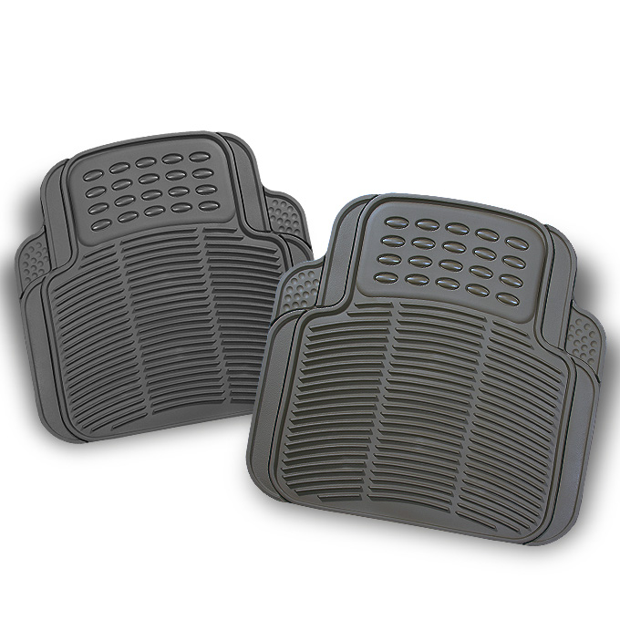 All Weather Rubber Semi Pattern Grey Car Rear Floor Mats 2 Pcs Liner Heavy Duty by Artzone