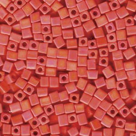 - 20 Grams Opaque Orange Matte Ab Miyuki 4mm Square Cube Glass Seed, Loose Beads,