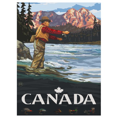 Canada Fly Fisherman Stream Sunset Travel Art Print Poster by Paul A. Lanquist (9
