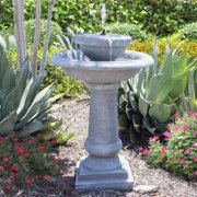 Best Choice Products Solar Power 2 Tier Weathered Bird Bath Fountain - Gray
