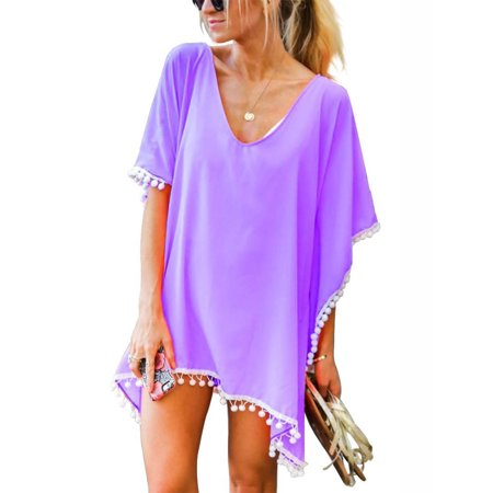 Pink Bathing Suit - SAYFUT Women Chiffon Tassel Swimsuit Cover up Beach Bikini Stylish Pompom Tassel Trim Bathing Suit Swimwear Cover ups