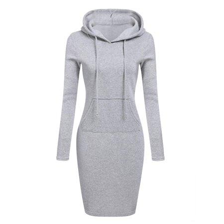 Women  Slim Hooded Long Sleeve  Pencil Hoodie Dress - Hood Dress