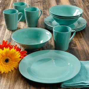 Gibson Home Branfield 12-Piece Teal Dinnerware Set