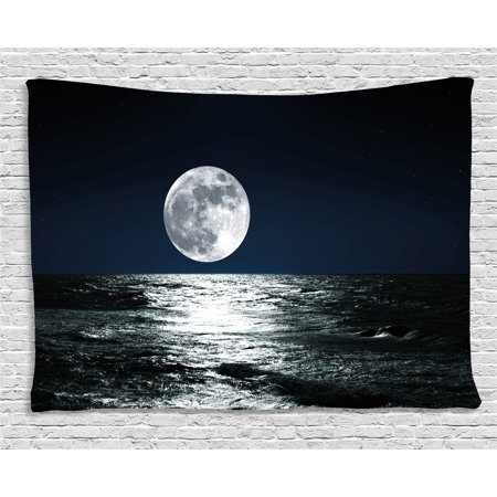 Moon Tapestry, Big Moon and Its Reflection on the Sea Open Sky Ethereal Drawing Style, Wall Hanging for Bedroom Living Room Dorm Decor, 80W X 60L Inches, Dark Blue Black White, by Ambesonne